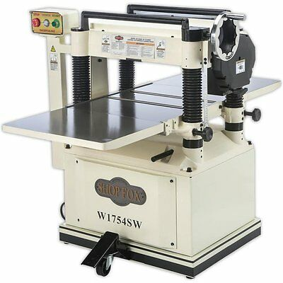 "Shop Fox W1754SW 20"" Planer with Built In Mobile Base and Spiral Cutterhead"