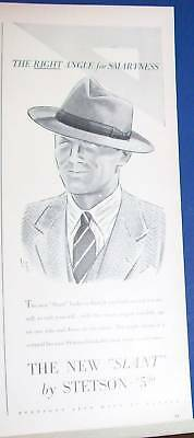 "1941 Stetson men's new ""slant"" hat Ad"