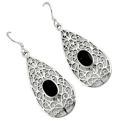 Black Onyx Enamel Oval 925 Sterling Silver Designer Earrings Jewelry H50583