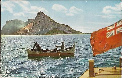 East View - GIBRALTAR - Raised Printing - row boat, British Ensign