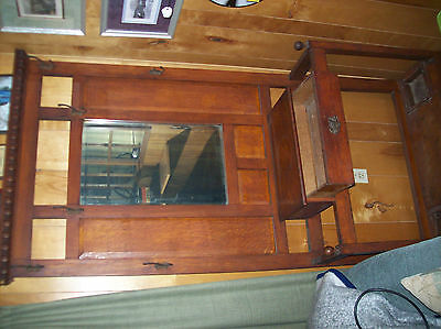 ANTIQUE HALL STAND with MIRROR and Drawer Nice Shape Wood Vintage