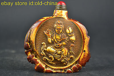 China Vintage Collectible Handwork Old Horn Carving Buddha Noble Snuff Bottle