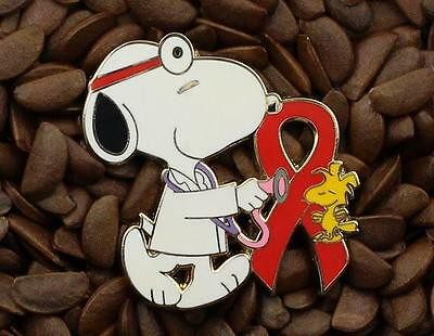 Snoopy & Woodstock Red Ribbon Pins Peanuts Doctor Pin