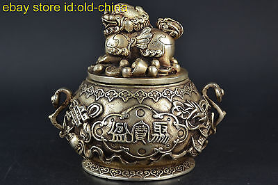 China Collectible Decor Old Tibet Silver Noble Kylin lid Noble Incense Burner