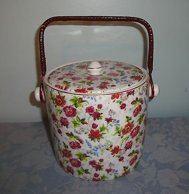 Baum Brothers Formalities Chintz Cracker Jar White Background Pink Floral VGC