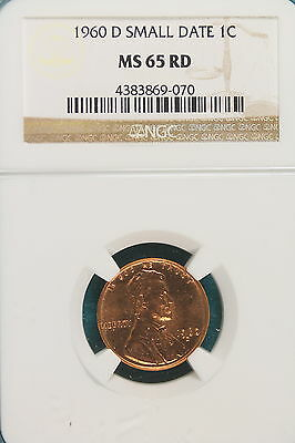 1960-D NGC MS65 RED SMALL DATE Lincoln Memorial Cent!! #A6430