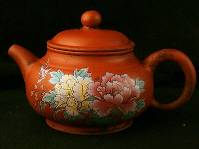 Special Antique Chinese YiXing ZiSha Hand Painting *Flower* Teapot F059