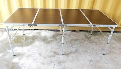 1X Foldable Coffee Brown Table For Market Stall,Camping,Picnic