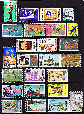 THAILAND: Mixed group of 25 different USED stamps (1975-77)-Est Cat Val = $20.00