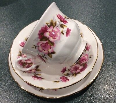 Queen Anne Trio Cup Saucer Cake Plate Tea Coffee Floral Roses Collectable Vintag