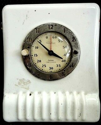 antique ART DECO TELECHRON~ENAMELWARE CLOCK ~CALORIC