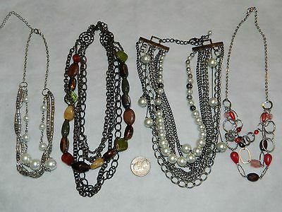 Lot 4 Multi Necklace Chain Glass Plastic Pearl  Beads  16' to 18'
