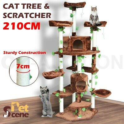 210cm Multi Level Cat Tree Post Scratching Pole Toy Climbing Scratcher House