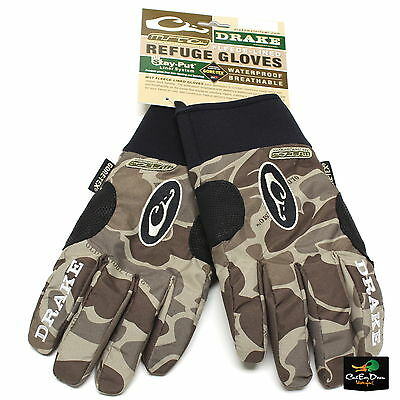 New Drake Waterfowl Systems Mst Refuge Gloves Old School Timber Camo Medium M