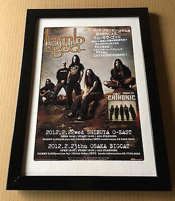 2012 Lamb Of God JAPAN tour concert flyer / mini poster FRAMED MINT japanese