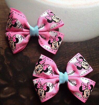�� Lovely girls Pink Ribbon Minnie Mouse Bow Hair Clips, Handmade