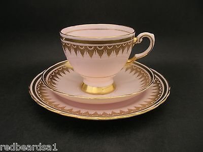 Tuscan Art Deco Pink & Gold Trio Cup Saucer Plate Bone China 7045H c1940s
