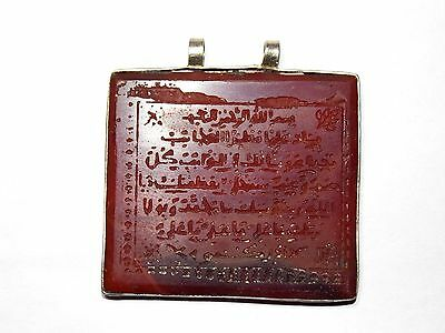 VINTAGE PENDANT ISLAMIC DESCRIPTIONS WITH GLASS STONE VERY NICE 16.5gr 44.0mm