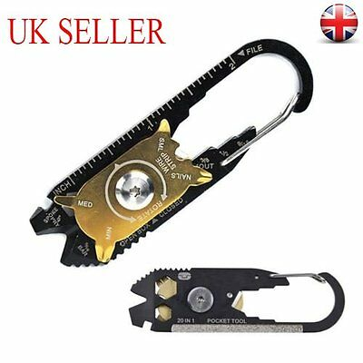 Multi-Tool 20 In1 Stainless Screwdriver Wrench Pocket Keychain EDC Key Ring UK