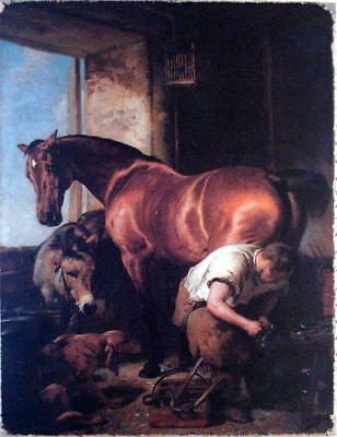 Vintage Oil  Painting Print Canvas Horse Landseer Ready To Hang New! Rich!