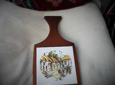 Vintage Cheese Bread Board Cottage Tile On Wooden Backing Wall Hanging