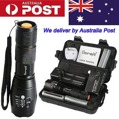 5000lm X800 ShadowHawk Tactical Flashlight LED Zoom Military Torch Kit 2 battery