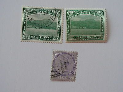 Dominica 1886 1/2d m/mint and fine used and QV 1d used