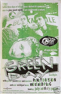 "Green Day / Pansy Division 1995 ""insomniac Tour"" Grand Rapids Concert Poster"