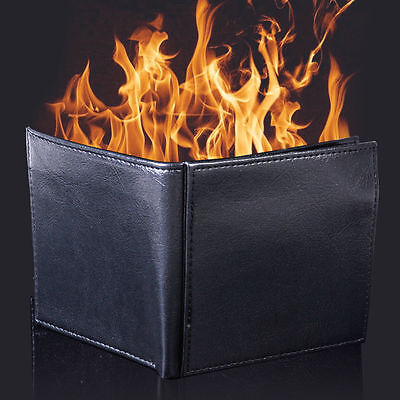 New Magic Trick Flame Fire Wallet Leather Magician Stage Street Purse Burse Prop