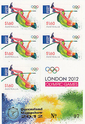 "2012 Olympics $8 Booklet Overprinted ""QUEENSLAND STAMPSHOW"" MUH.Scarce item"