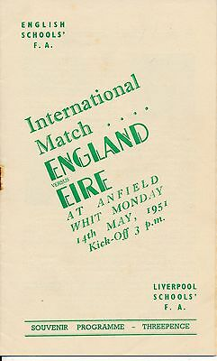 LIVERPOOL England v Eire (Schools Intl @ Anfield) 1951