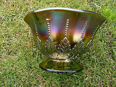 Fabulous  Carnival Glass Nut Bowl - Northwood -  Leaf and Beads design.