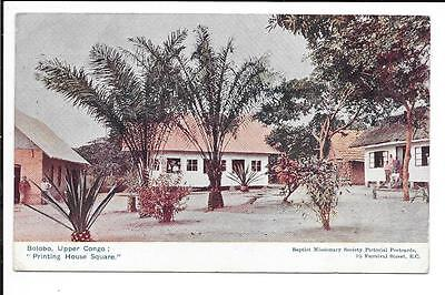 Old postcard: Bolobo, Upper Congo: 'Printing House Square'. Posted 1910.