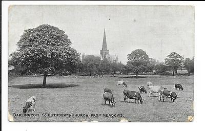 Old Church: 'Darlington. St. Cuthbert's Church from Meadows'. Posted 1910