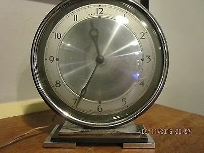 1930s Art Deco period Chrome Temco Mantel Clock .Temco Mantel Clock in VGC