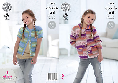 Easy Knit Girls Collar or Round Neck Cardigan Knitting Pattern King Cole DK 4783