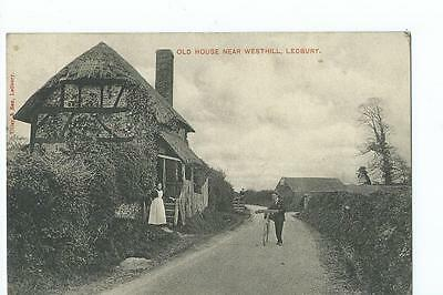 Herefordshire, Printed view of old cottages at Westhill near Ledbury PU 1905