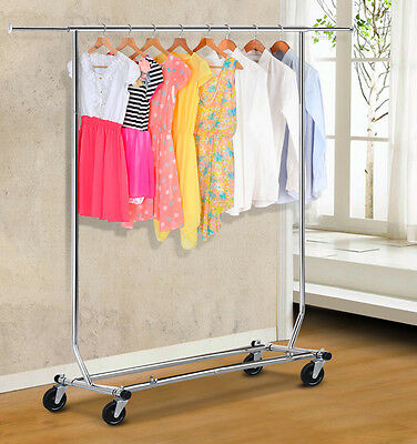 250lbs Commercial Clothing Garment Rolling Collapsible Rack Wheeled Chrome US