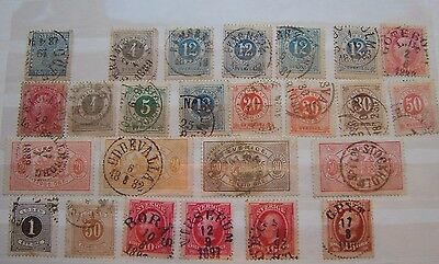 Sweden: 25 early stamps, mainly pre 1900, some nice postmarks