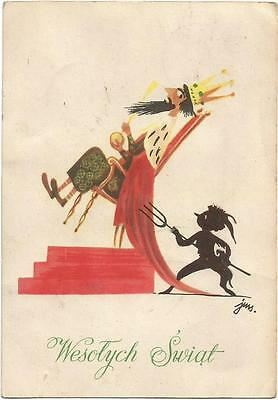 Krampus Piercing The Bottom of the King, Funny Old Postcard 1950's