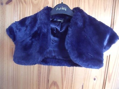 Autograph Navy Blue Girls Fur Bolero  5 Years/wedding?  Marks And Spencer