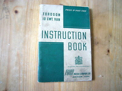 Ford Fordson 10cwt van factory owner's handbook, 1946, excellent