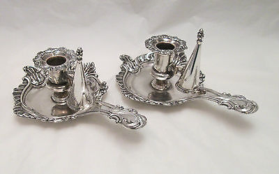 An Unusual Pair of Old Sheffield Plate Chamber Candlesticks - c1820