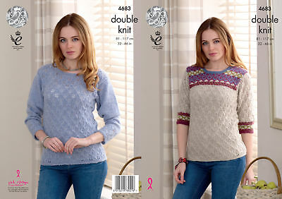 Ladies Lacy & Fairisle Sweater Jumper Knitting Pattern Womens King Cole DK 4683