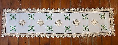 Enerald Isle Table Runner With Shamrock Embroidered ,direct From Ireland