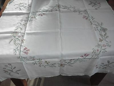Vintage Hand Embroidered Tablecloth 39 inches x 41 inches