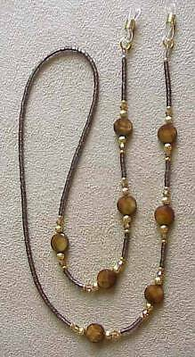 ! Brown  Shimmering Crystals Eyeglass Chain !!