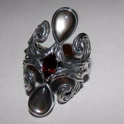 Carolyn Pollack Gray Mother of Pearl & Garnet Bold Sterling Silver Ring 8