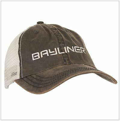 Bayliner Boats Washed Waxed Mesh Cap Hat Brown/Ivory