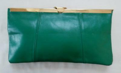 Vintage Late 1970's Green Leather Clutch Shoulder Bag w/ Diamond-Shaped Frame